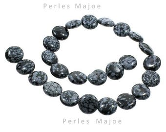 25 perles obsidienne flocon de neige naturelles rondes et plates dimensions 16x6mm