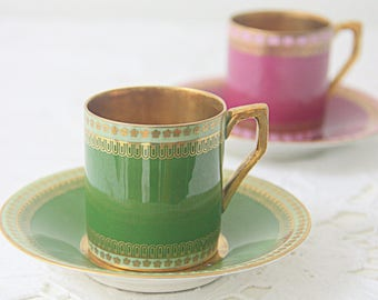 Set of Two Antique Porcelain Demitasse Cups and Saucers, Cherry Pink and Green, Gild Details, J&C Bavaria, Germany