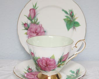 Vintage Paragon Tea Trio, Cup and Saucer and Pastry Plate, Prelude, Six World Famous Roses, Signed by Harry Wheatcroft