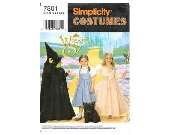 Simplicity 7801 Wizard of Oz Sewing Pattern Girls 3-8 Dorothy Glenda Witch