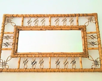 Mirror rectangular sixties Wicker / 60s rectangular wicker mirror