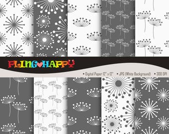 70% OFF Dandelion Gray Digital Papers, Dandelion Pattern Graphics, Personal & Small Commercial Use, Instant Download