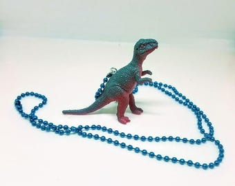 Dinosaur Necklace Blue  Ball Chain Blue and Red T Rex Dinosaur Jewelry Gifts 5 and Under