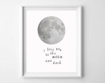 Pink Moon Nursery Art Printable - Love You To The Moon and Back - Cute Pink Moon Nursery Print - Nursery Wall Art - Girls Room Moon Print