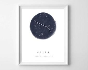 Aries Zodiac Sign Print, Star Map, Printable Art, Zodiac Printables, Modern Minimal Zodiac Wall Print, Astrology Print, Constellation Print