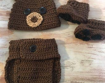 Bear photo prop, newborn outfit, newborn photography, crochet baby bear, bear costume, forest, brown bear, baby gift, newborn photoshoot