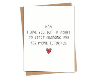Mom Phone Problems Greeting Card SKU C230