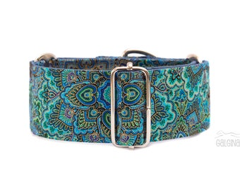 "Mandala, dog collar, ornamental, blue, green, turqouise, gold, wide sighthound collar, 2"" martingale, 1.4"" martingale, 1"" martingale"