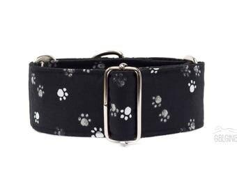 "Paws, dog collar, black, grey, white, monochrome, sighthound, greyhound, martingale, 2"" martingale, 1.4"" martingale, 1"" martingale"