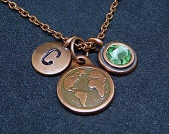 Copper World map - Earth necklace, swarovski birthstone, initial necklace, birthstone necklace