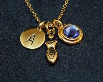 Goddess necklace, swarovski birthstone, initial necklace, birthstone necklace, initial charm