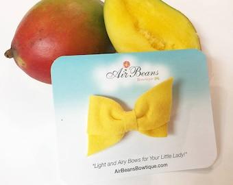 Yellow Hand Folded Bow - Yellow Bow - Hand Folded Hair Bow - Small Bow Headband - Small Bow Clip - Small Bow - Criss Cross Bow - Felt Bow