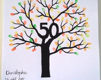 "Fingerprint tree ""50"" birthday, wedding anniversary..."