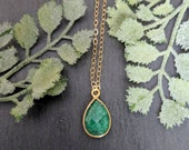 Bright Green and gold teardrop Emerald Necklace, genuine and authentic bright green emerald gemstone necklace, natural pear emeral necklace