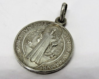 Vintage French, St Benedict Medal, Pendant, SHIPPING INCLUDED