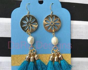 Gold flower with pearl and tassels, tassel earrings, tassel jewelry, pearl earrings, beauty gift