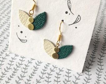 Petals in green leather earrings