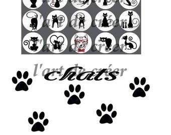 20 cabochons 25mm, cat pattern digital prints