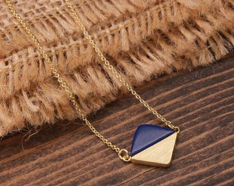 Geometric Necklace, Diamond Shape Necklace, Gemstone Necklace, Navy Blue Necklace, Gold Necklace, Minimalist Necklace BN708-G3