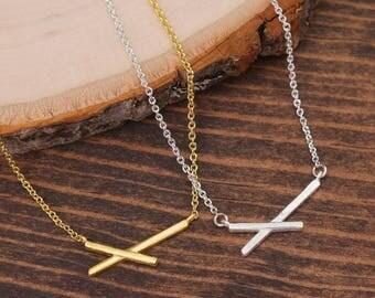 X Necklace, Minimalist Necklace, Simple necklace, Everyday Necklace, Casual Necklace, Gold Necklace, Silver Necklace BN892-2