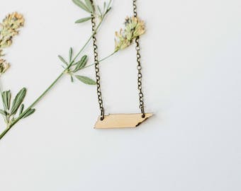 Tennessee Wood Necklace, Laser Cut Wood Charm, Baltic Birch Pendant, Tennessee State Necklace, State Shape Necklace, Tennessee State Pride