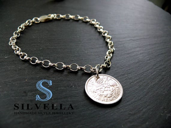 Lucky Silver Six Pence Bracelet - Unique Gifts