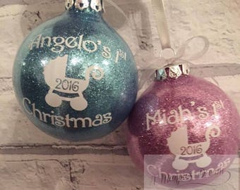Personalised First Christmas, Christmas tree decoration. Bauble