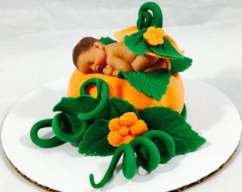 Fondant Pumpkin Munchkin, Fall, Autumn, Baby Shower, Cake Topper