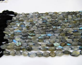 AAA Quality Natural Labradorite Blue Flashy Beads , Oval Faceted Beads Size 6x8 to 7x10mm ,  Strand 13 Inches long , Semi Precious Beads