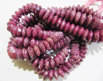 AAA Quality AB Mystic Coated Natural Ruby German Cut, Rondelle Faceted Beads , 9 to 13mm Graduated Disc Shape Beads , Strand 8 Inches Long