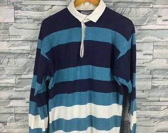Vintage LANDS END Bay Shirt Men Large 1990's Lands End Stripes Multicolour Rugby Cross Colours Hip Hop Polo Rugby Colorblock Shirt Size L