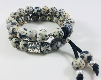 "Set of 2 ""Everly"" dalmation jasper beaded bracelets // Fast and free shipping"