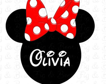 Minnie Mouse Red Bow Girls Disney Personalized with Name Shirt Iron On Transfer