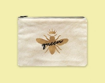 Canvas Zipper Pouch Personalized, Bee Accessories, Painted Bags With Words, Makeup Organizers, Toiletry Bag Women, Zipper Pouch Canvas Bag