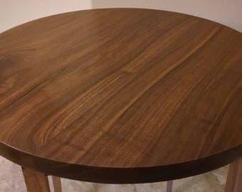 Lazy Susan Turntable - Large Solid Black Walnut Wood Round, Low Profile