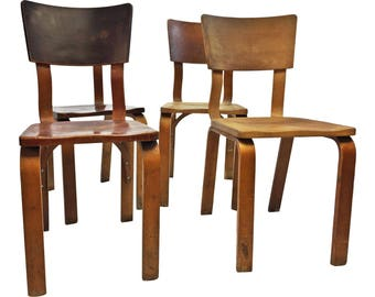 4 THONET BENTWOOD CHAIR Set school dining side plywood mid century modern 50s pair brown school
