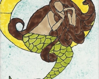 Mermaid #285 Hand Painted Kiln Fired Decorative Ceramic Wall Art Tile 8 x 6