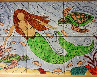 "Mermaid Sea Turtle  Back Splash Mural Hand Painted Kiln Fired Decorative Ceramic Wall Art Tile 12"" X 18"""