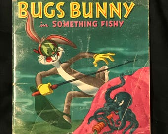 Bugs Bunny In Something Fishy - 1950's Vintage Childrens Book Softcover Whitman - Warner Brothers