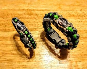 Seattle Seahawks inspired Paracord Bracelet/Keychain/Set