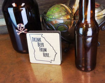 All States Available - Craft Beer Coasters - Drink Beer From Here - State Specific Drink Coasters - State Pride Coasters - Set of 4