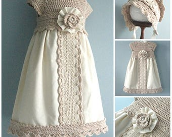 Christening Baby Dress Set Baby Bonnet Crochet Baptism Baby Dress Crochet Baby Bonnet Cotton Baby Dress