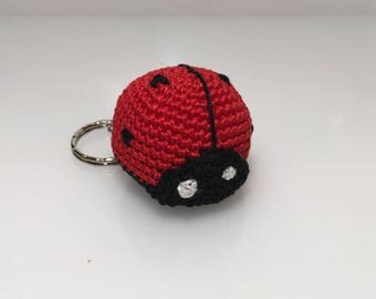 Crochet keyring, lucky amigurumi, red ladybird, party decoration, gift idea for her and for him