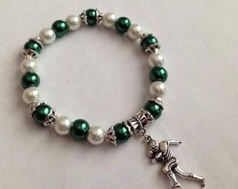 Green and White Bracelet, Green and White Football Bracelet, Green and White Jewelry,Michigan State Inspired Bracelet,ShipsFromUSA