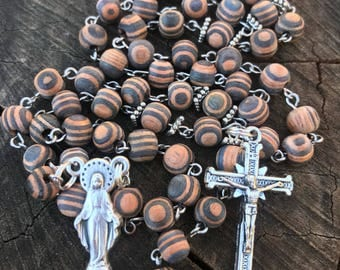 Wooden Catholic Rosary Beads, Wood Catholic Rosary, Striped Amber Wood Beads. Mary Centerpiece, Traditional Rosary, 5 Decade Rosary
