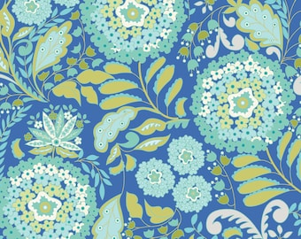Little Azalea Lantana in Aqua by Dena Designs -  cotton quilting fabric by the yard