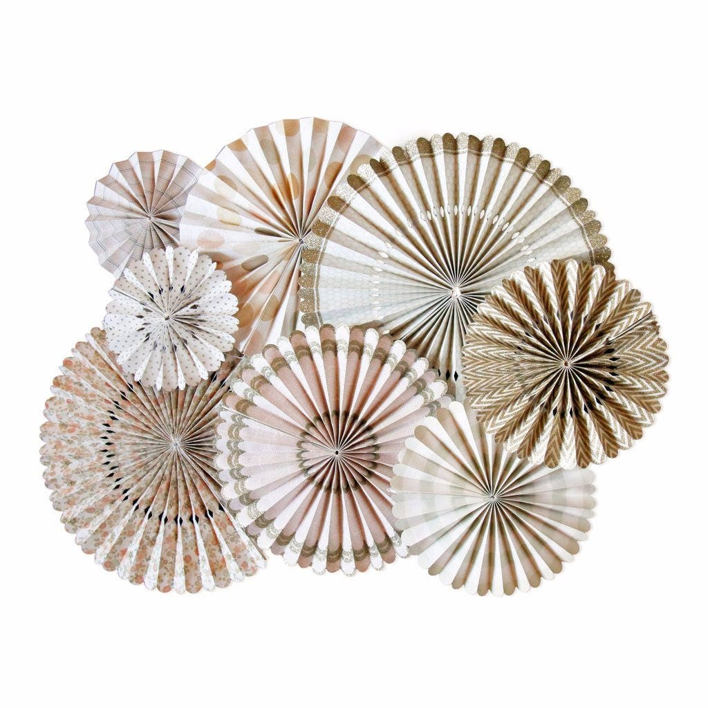 Ivory and Gold Paper Fans, Paper Fans, Baby Shower Decorations, Hen ...