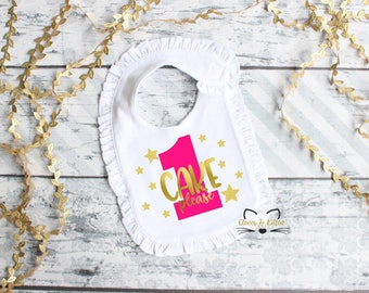First Birthday Bib -  Birthday Bib - 1st Birthday Bib - Cake Please - Girls Birthday - Pink and Gold Party - Girls 1st Birthday - Cake Smash