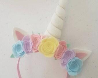 Unicorn headband, pastels