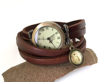 Gift dream woman, watch bracelet leather brown elf charm, tape leather to wind up